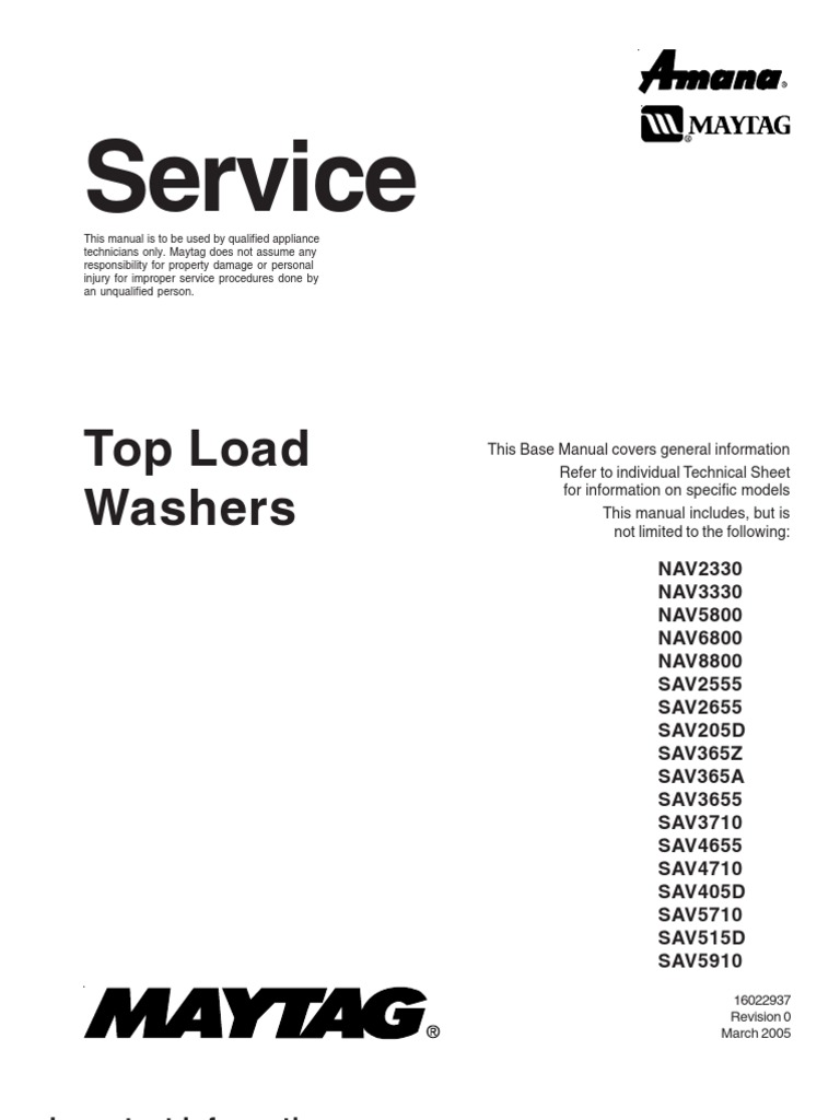 16022937 maytag amana top load washer service manual washing rh es scribd com Amana Appliance Logo Amana Appliances Recall
