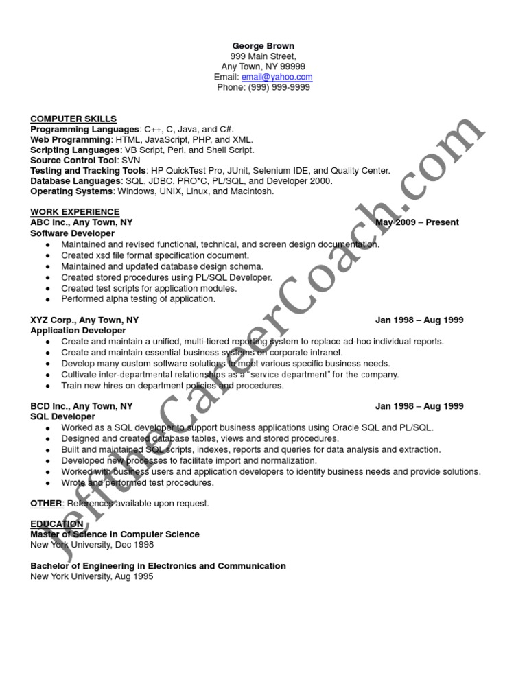 pl sql developer sample resume 3 - Pl Sql Developer Resume