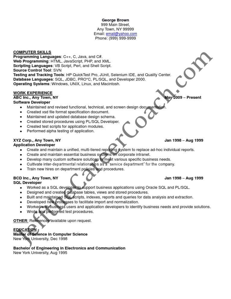 sql developer sample resume