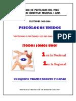 Plan de Trabajo 2012-2014 de PSICÓLOGOS UNIDOS