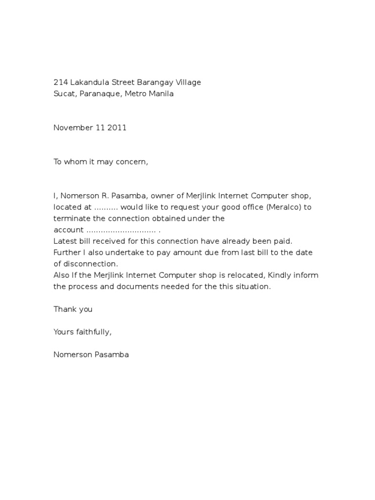 Letter Of Request Meralco