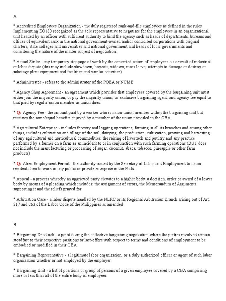 Definitions Ii Strike Action Employment