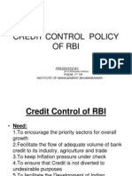 Credit Control Policy of Rbi