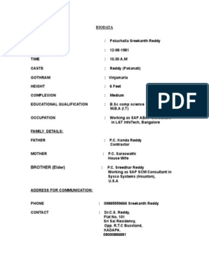 Biodata format for marriage for girl pdf