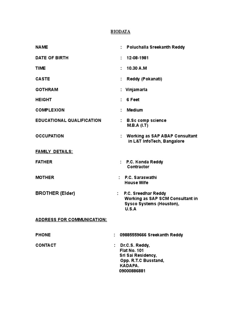 biodata format for marriage - Matrimonial Resume Format