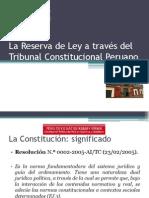 La Reserva Tributaria a través del Tribunal Constitucional Peruano
