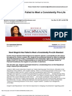 11/19/11 Bachmann Campaign Email Taking Swipe at Newt Gingrich