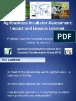 Assessment Agribusiness Incubators - 31 May 2011
