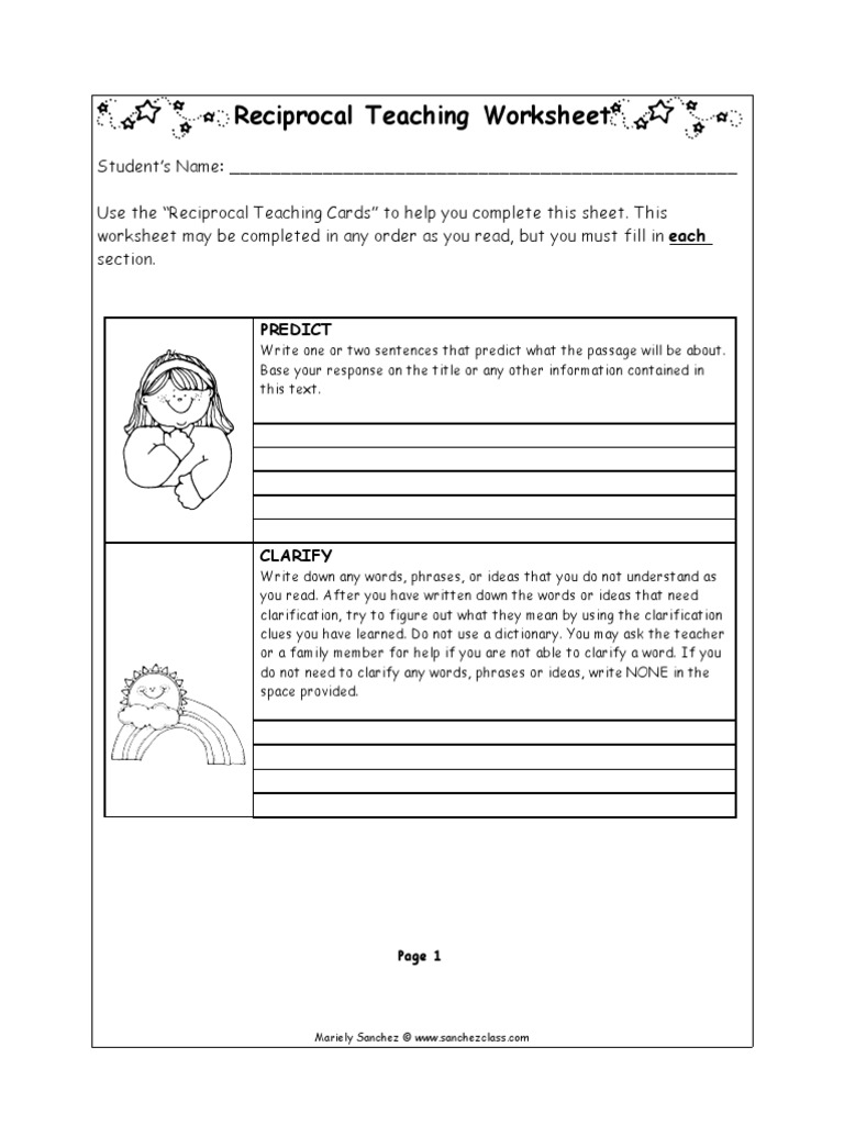 Worksheets Reciprocal Teaching Worksheet reciprocal worksheet