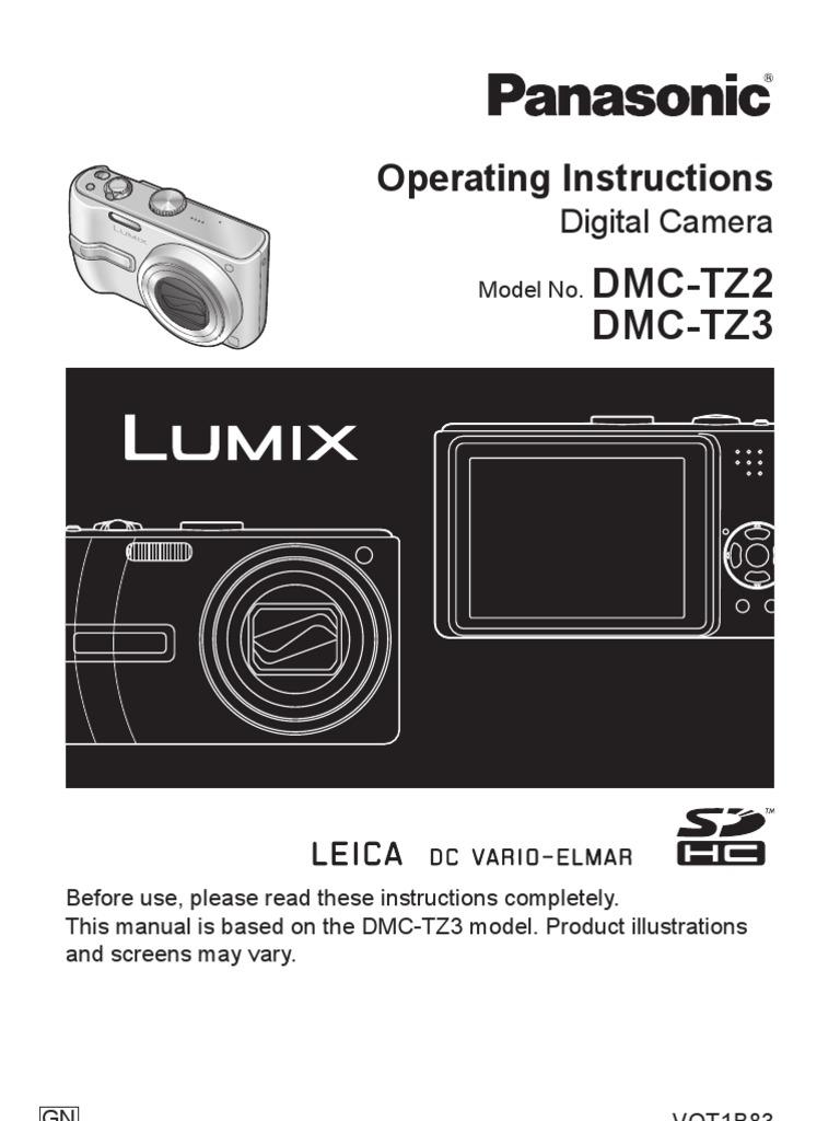 Digital Camera User Manual - Panasonic Lumix DMC-TZ3 | Battery Charger |  Exposure (Photography)