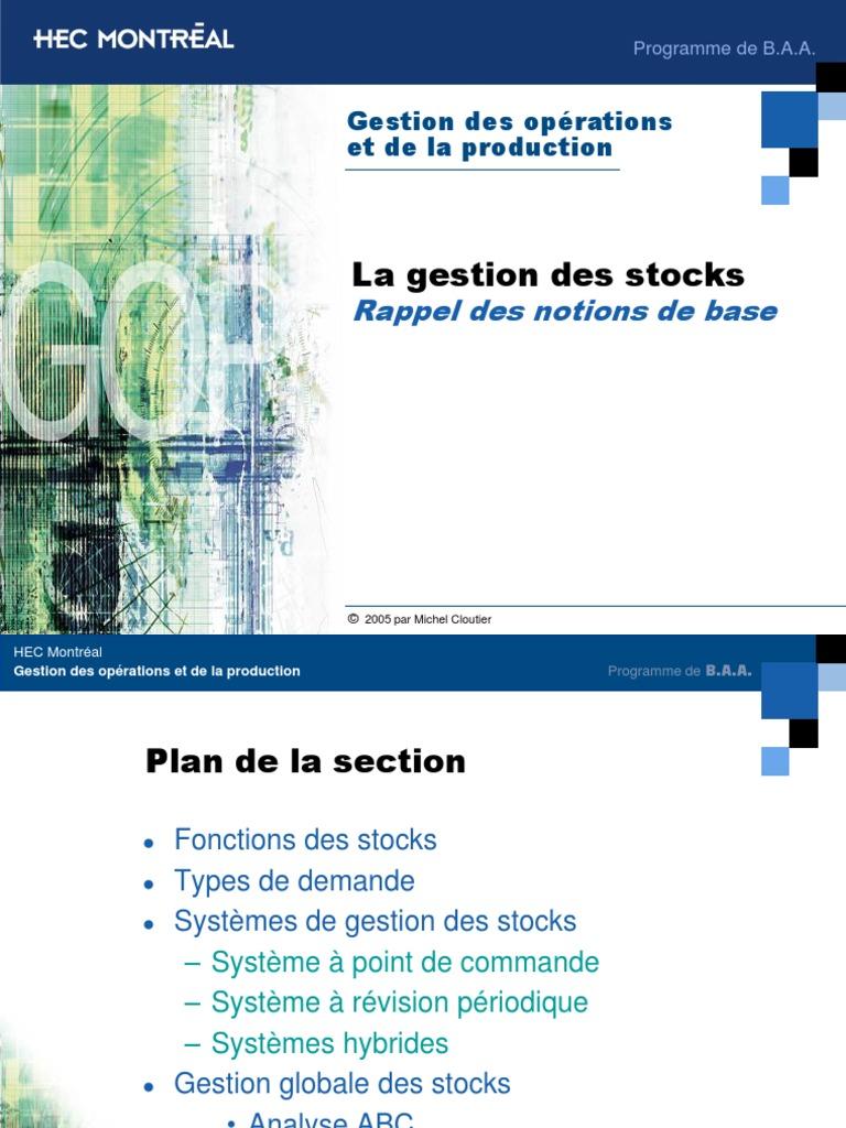 Gestion Des Stocks Notions de Base   Inventaire   Montréal