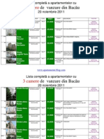 Lista Apartamentelor Cu 3 Camere de Vanzare Din Bacau La 20 Noiembrie 2011 (Download PDF)