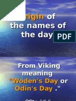 Origin of the Names of Days