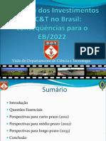 30 Palestra - Cel Guanabarino Do DCT, Sobre Aumento Dos Investimentos Em C&T No Brasil
