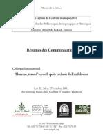 Tlemcen, terre d'accueil après la chute de l'andalousie_Résumés des Communications