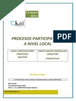 PROCESOS PARTICIPATIVOS A NIVEL LOCAL - LOCAL PARTICIPATORY PROCESSES (spanish) - PARTE-HARTZE PROZESUAK UDALETAN (espainieraz)