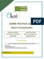 SOBRE POLÍTICA LOCAL - ON LOCAL POLICY (spanish) - UDAL POLITIKAZ (espainieraz)