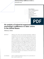 An Analysis of Industrial Organizational Psychology Indiference to Labor Union