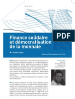 Finance Solidaire et démocratisation de la monnaie - N. Meyer