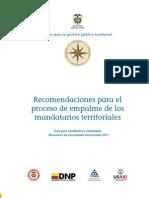 Recomendaciones para los procesos de empalme de los mandatarios territoriales