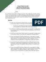 Senator Grassley's Questions for the Record to AG Holder Regarding DOJ FCPA Guidance