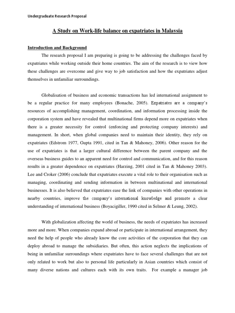 Undergraduate dissertation proposal