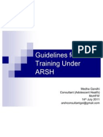 Guidelines for Training Under ARSH for NIHFW 14.7.11