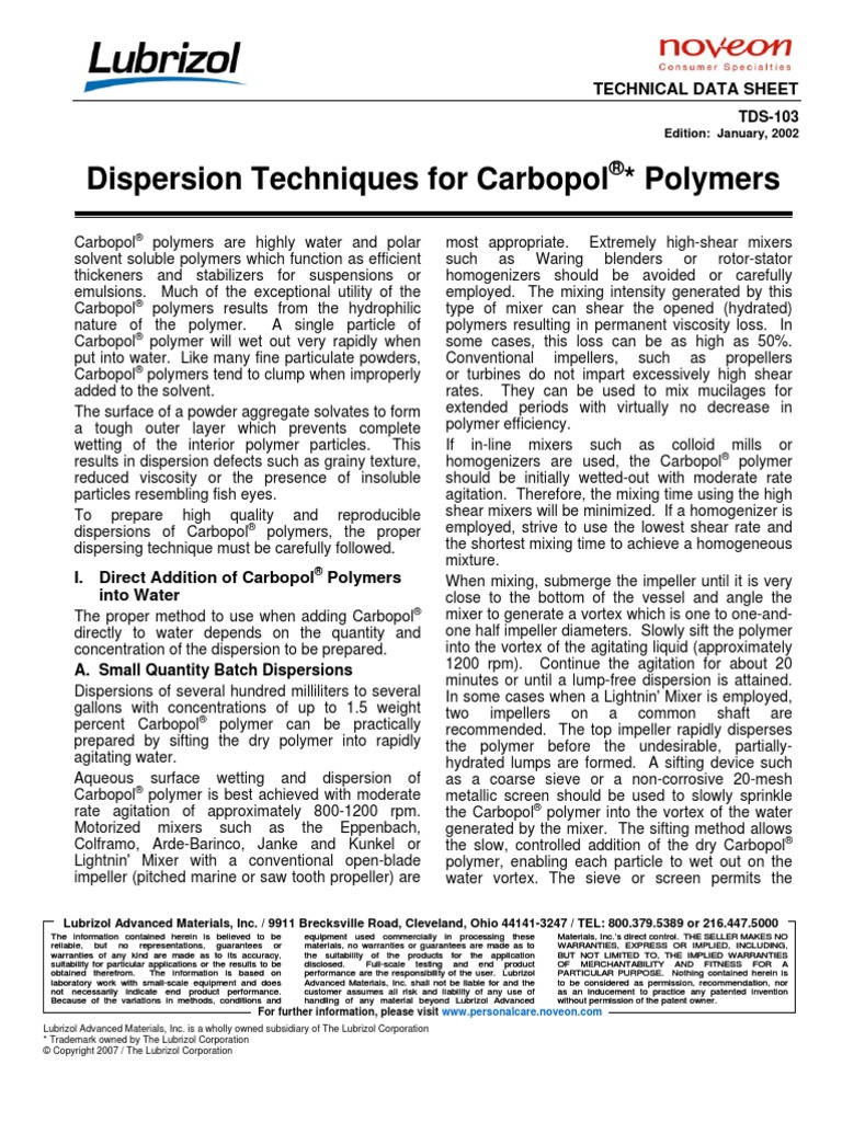 TDS-103 Dispersion Techniques Carbopol Polymers | Emulsion | Polymers