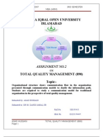 total quality management assignment no  tqm 2nd assignment