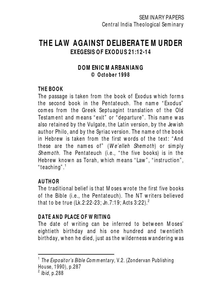 The Law Against Deliberate Murder (Exodus 21 12-14) | Book