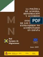 La política de acogida, repatriación y acuerdos para la integración de los MENA en España