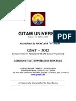 Gitam Univ GSAT 2012 Admission Test Notification 21112011