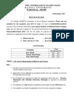 Kakatiya Univ UG Exams Notification 21112011