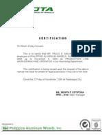 Philippine Aluminum Wheels Certificate of Employment