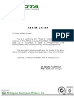 Sample certificate of employment philippine aluminum wheels certificate of employment yadclub Choice Image