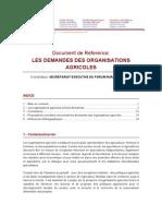 Document de Référence RENFORCEMENT DES ORGANISATIONS AGRAIRES FAMILIALES