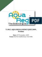Aqua Regia Science Quiz 2009 Prelims1