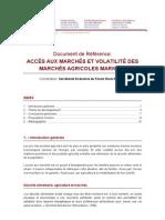 Document de Référence AGRICULTURE FAMILIALE, ACCÈS AU MARCHÉS ET VOLATILITÉ DES MARCHÉS AGRICOLES (RISQUES)