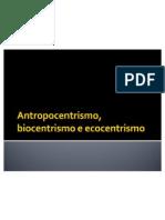Antropocentrismo Biocentrismo e Ecocentrismo
