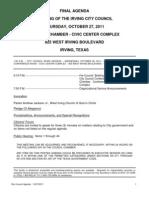 IrvingCC Agenda 2011-10-27