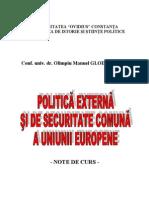 POLITICA EXTERNĂ ŞI DE SECURITATE COMUNĂ A UNIUNII EUROPENE curs GLODARENCO