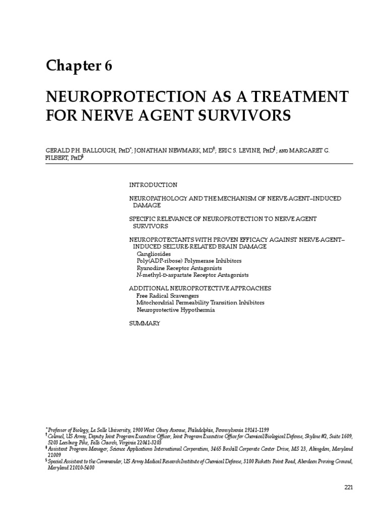 Chapter 6 - Neuroprotection as a Treatment for Nerve Agents