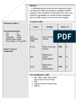 Resume For MBA Freshers BCOM