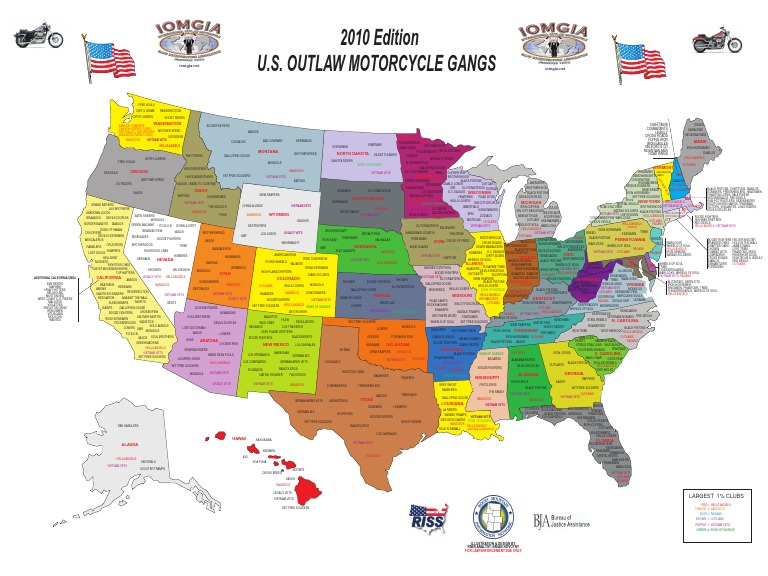 US Outlaw Motorcycle Gangs Map IOMGIA Edition - Us gang map