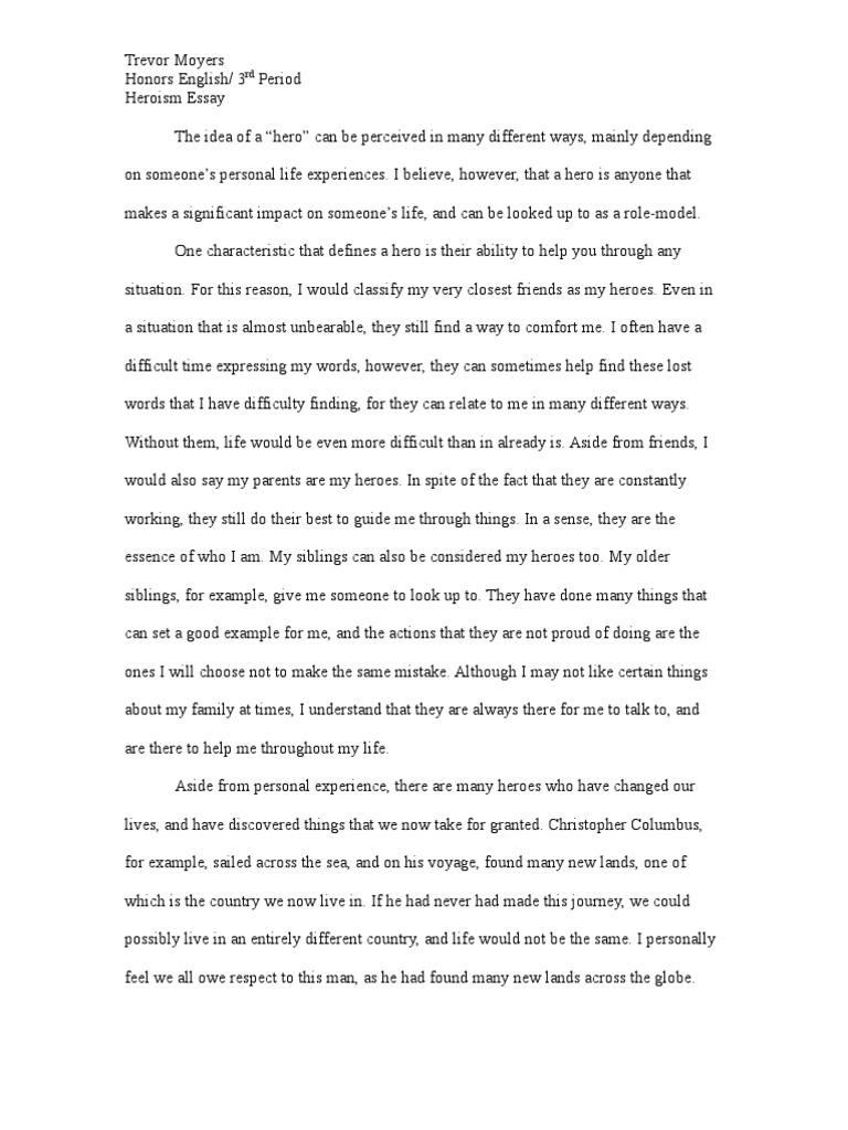 Heroism Essay | Hero | Sibling