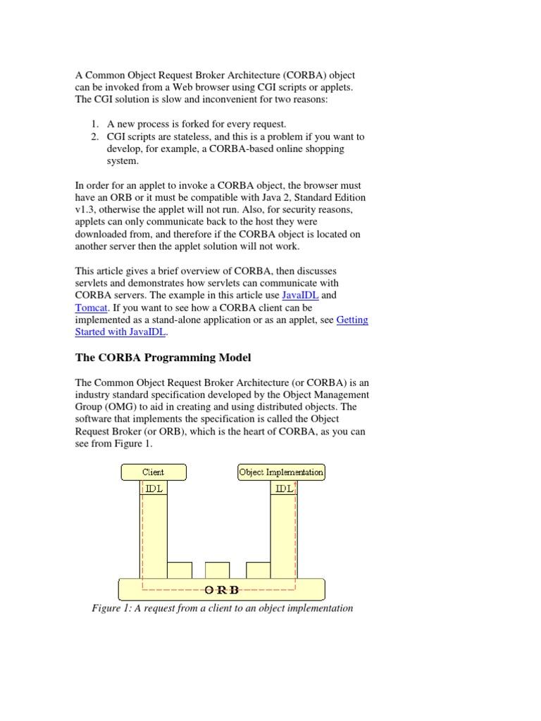Corba jsp common object request broker architecture java servlet baditri Gallery