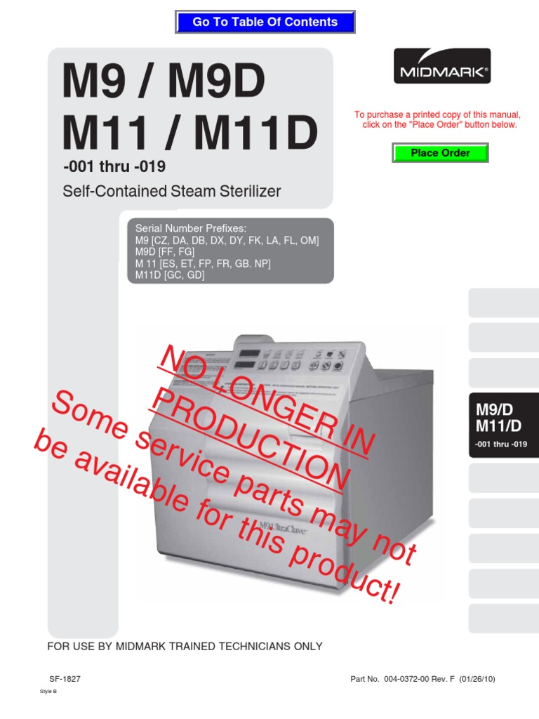 Midmark Ritter m9-m11 Service and Parts Old Style Rev 1-10 004-0372-00 |  Thermostat | TroubleshootingScribd