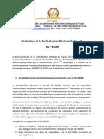 Declaration  de la Cgt-niger  du 19 Novembre 2011