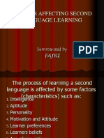 Factors Affecting Second Language Learning Power Point