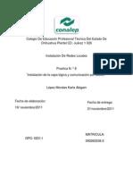 Instalación de la capa lógica y comunicación por Switch  PRACTICA 8